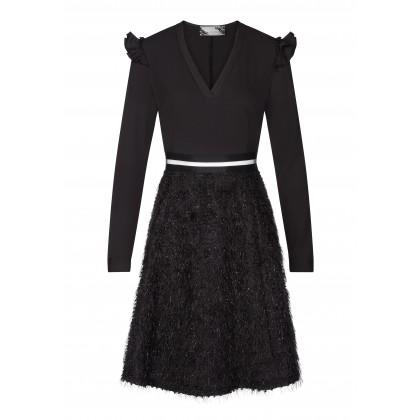 Elegantes Kleid NINA mit extravaganter Rockpartie /