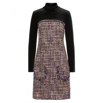 CINELA high-neck dress in classy bouclé quality /