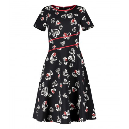 Romantic DECIANA dress in fashionable midi-length in black, white and red /