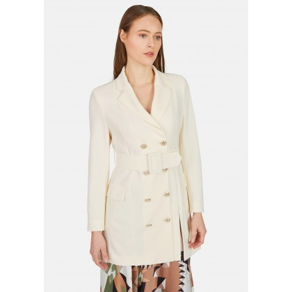 Long double-breasted blazer with belt - LENINO /