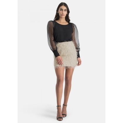 Skirt with fringe mesh – NIOVE /