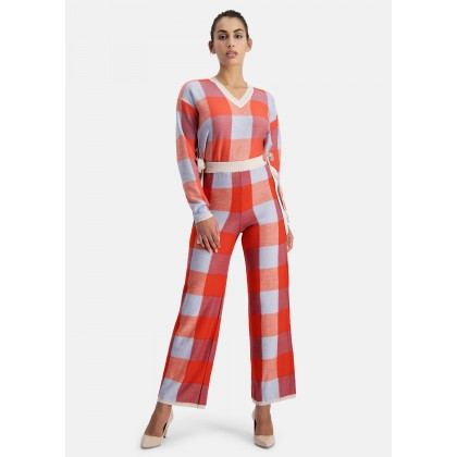 Knit trousers with check design – OWANO /